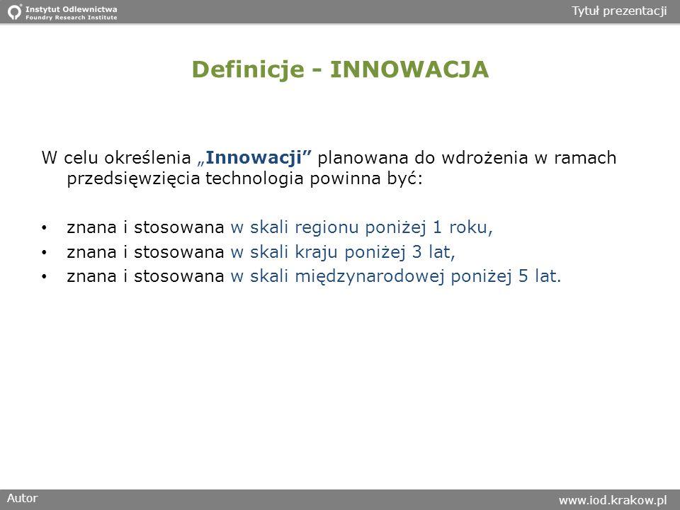 """Definicje - INNOWACJA W celu określenia """"Innowacji planowana do wdrożenia w ramach przedsięwzięcia technologia powinna być:"""