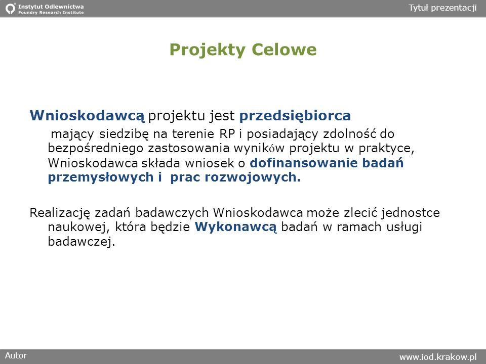 Projekty Celowe Wnioskodawcą projektu jest przedsiębiorca