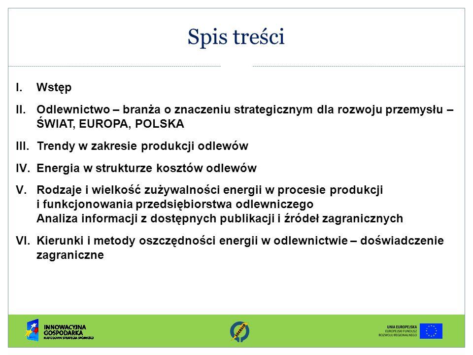 Spis treści Wstęp. Odlewnictwo – branża o znaczeniu strategicznym dla rozwoju przemysłu – ŚWIAT, EUROPA, POLSKA.