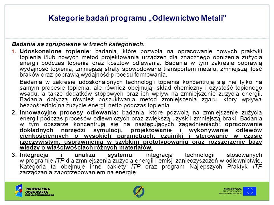 """Kategorie badań programu """"Odlewnictwo Metali"""