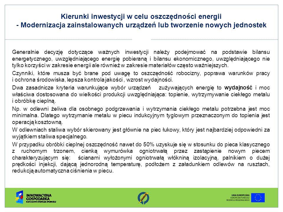 Kierunki inwestycji w celu oszczędności energii - Modernizacja zainstalowanych urządzeń lub tworzenie nowych jednostek