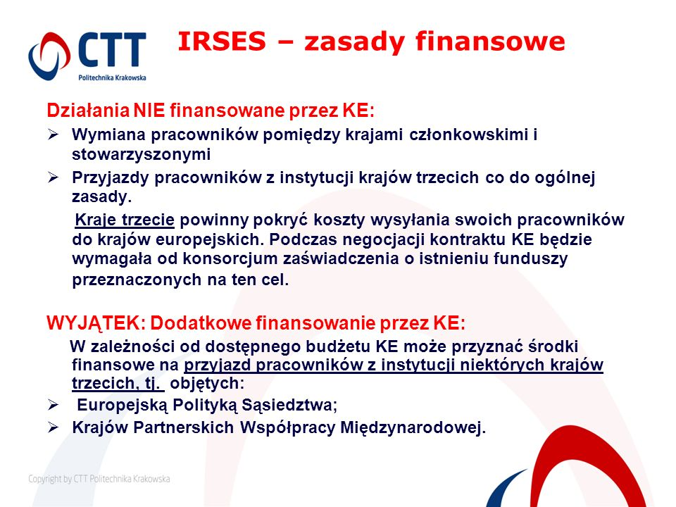 IRSES – zasady finansowe