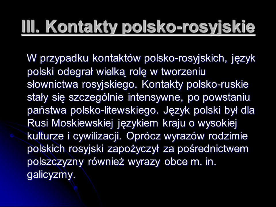 III. Kontakty polsko-rosyjskie