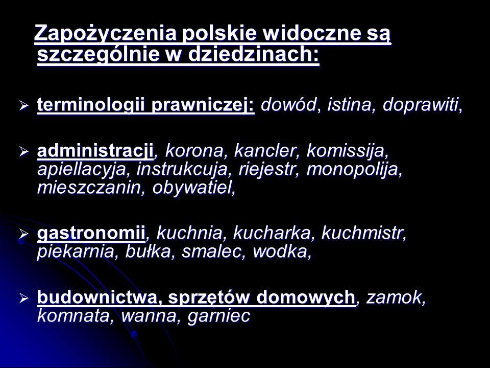 Zapożyczenia polskie widoczne są szczególnie w dziedzinach: