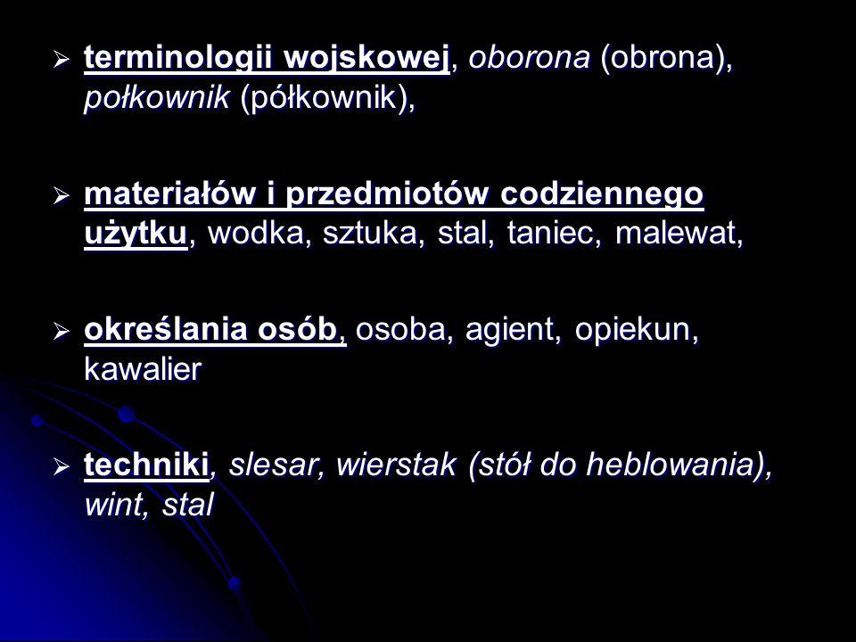 terminologii wojskowej, oborona (obrona), połkownik (półkownik),