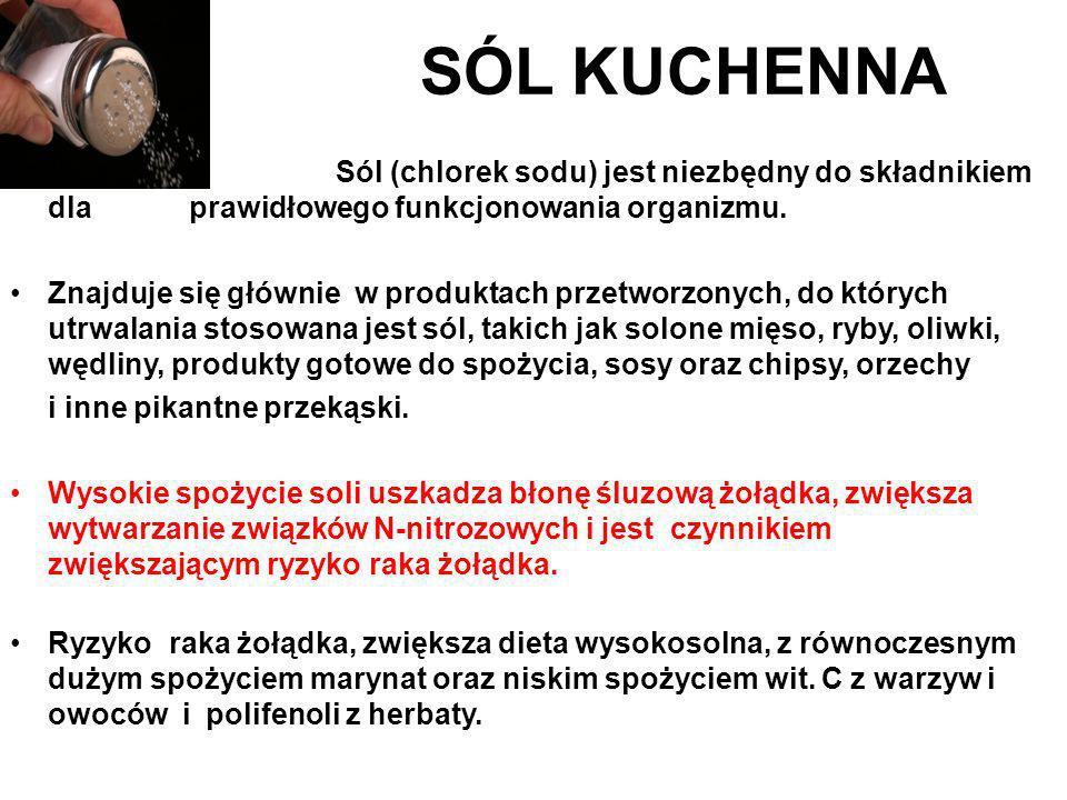 SÓL KUCHENNA Sól (chlorek sodu) jest niezbędny do składnikiem dla prawidłowego funkcjonowania organizmu.