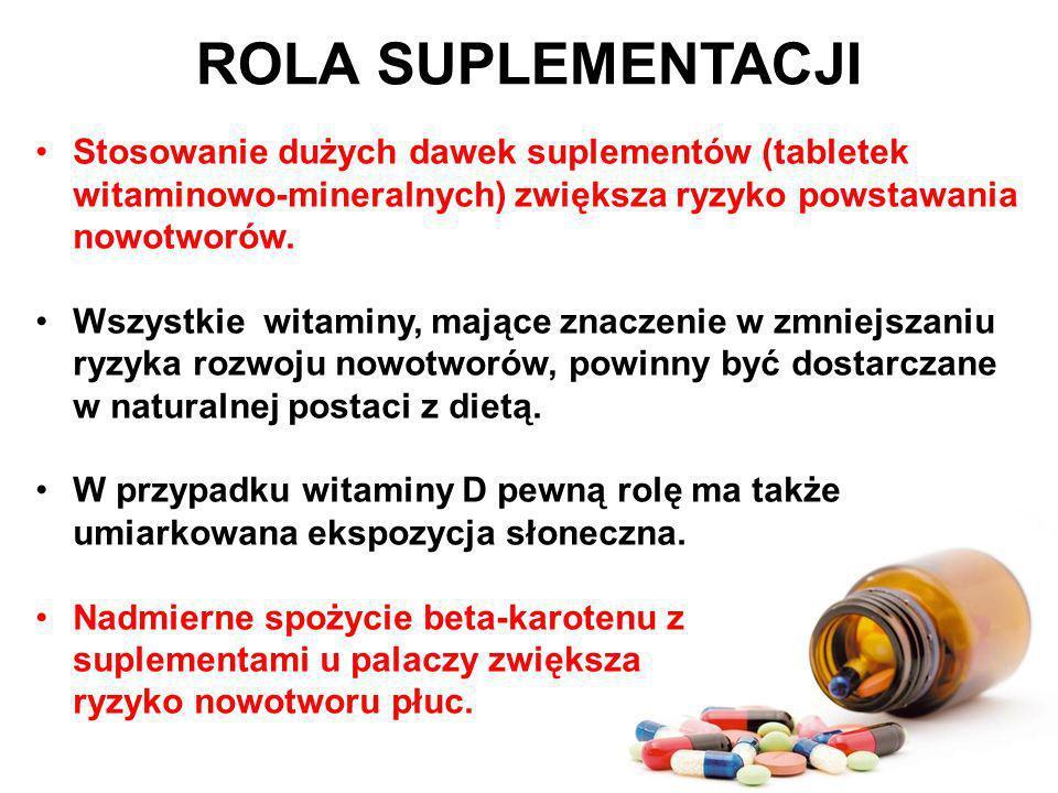 ROLA SUPLEMENTACJIStosowanie dużych dawek suplementów (tabletek witaminowo-mineralnych) zwiększa ryzyko powstawania nowotworów.