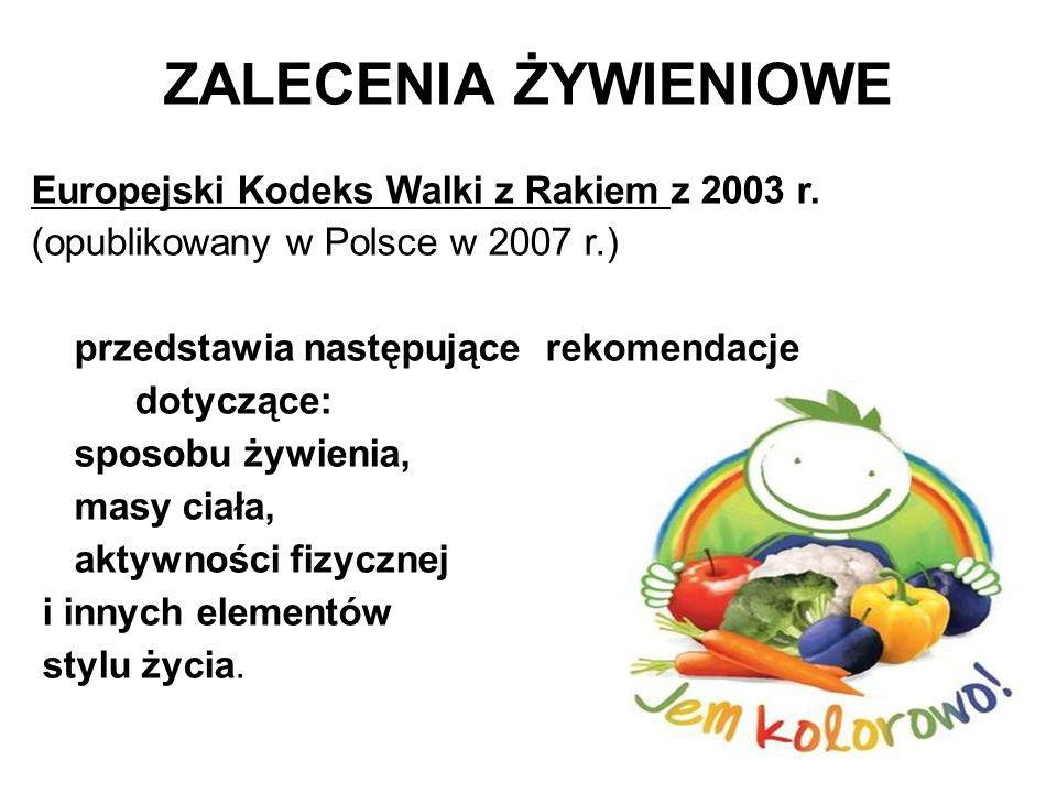 ZALECENIA ŻYWIENIOWE Europejski Kodeks Walki z Rakiem z 2003 r.