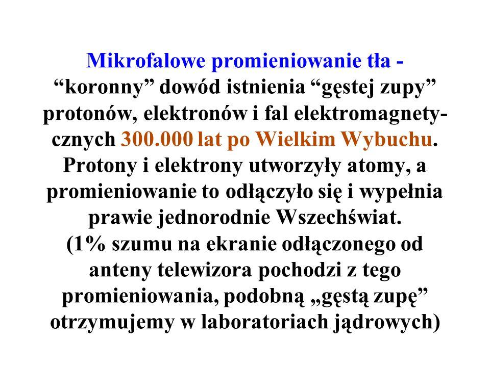 Mikrofalowe promieniowanie tła - koronny dowód istnienia gęstej zupy protonów, elektronów i fal elektromagnety-cznych 300.000 lat po Wielkim Wybuchu.