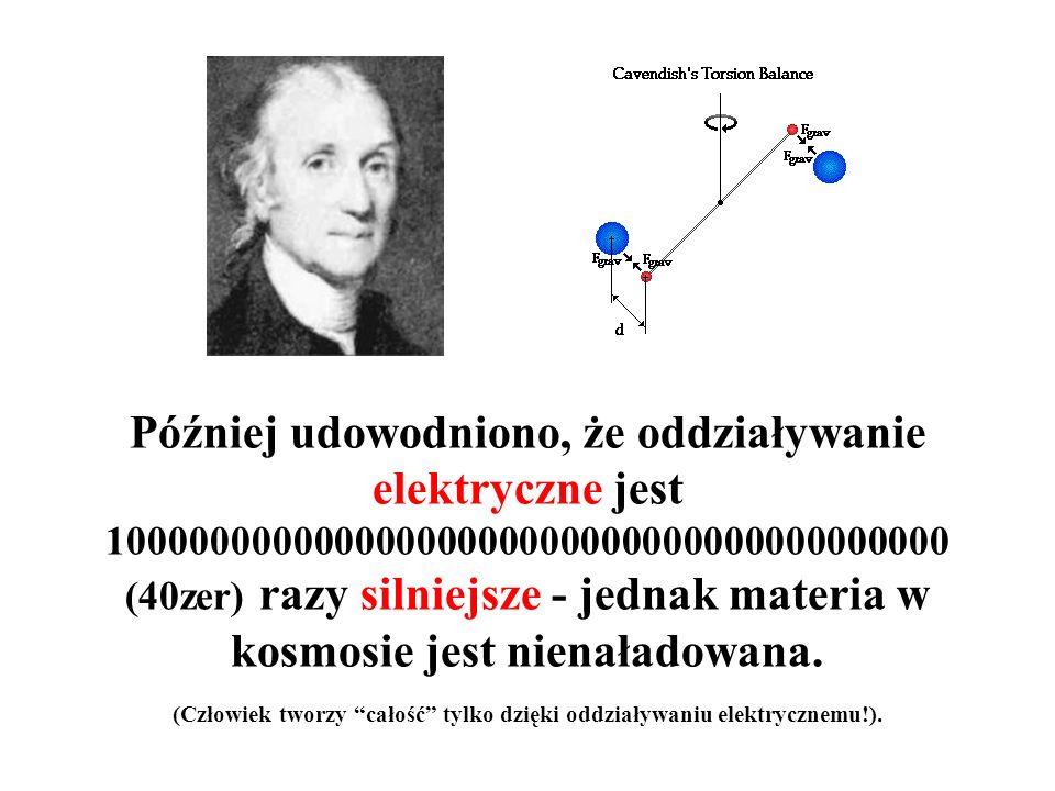 Później udowodniono, że oddziaływanie elektryczne jest 10000000000000000000000000000000000000000 (40zer) razy silniejsze - jednak materia w kosmosie jest nienaładowana.