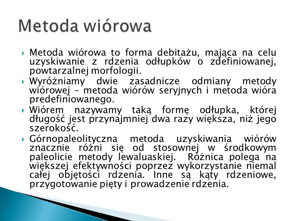 Metoda wiórowa Metoda wiórowa to forma debitażu, mająca na celu uzyskiwanie z rdzenia odłupków o zdefiniowanej, powtarzalnej morfologii.