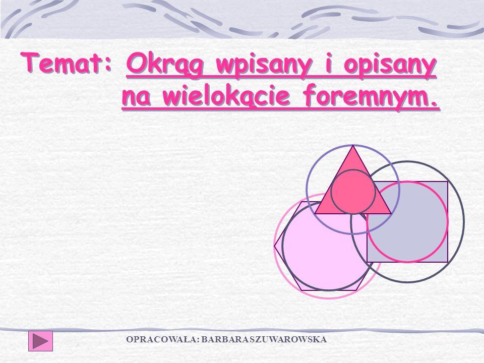 Temat: Okrąg wpisany i opisany na wielokącie foremnym.
