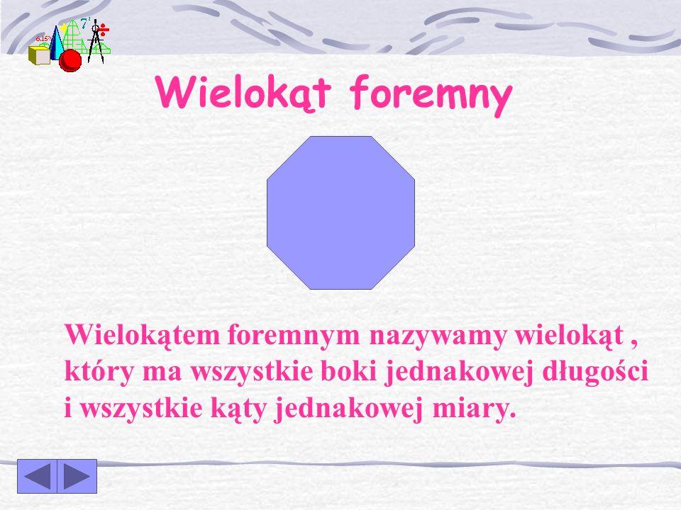 Wielokąt foremny Wielokątem foremnym nazywamy wielokąt , który ma wszystkie boki jednakowej długości i wszystkie kąty jednakowej miary.
