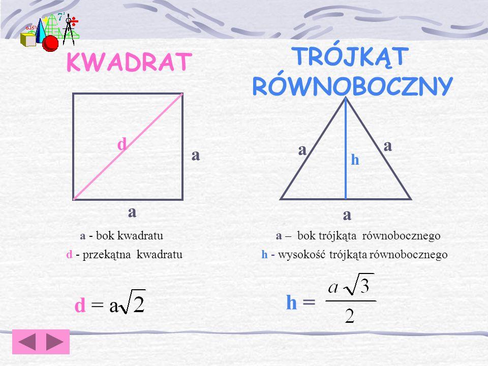 TRÓJKĄT KWADRAT RÓWNOBOCZNY h = d = a d a h a d - przekątna kwadratu