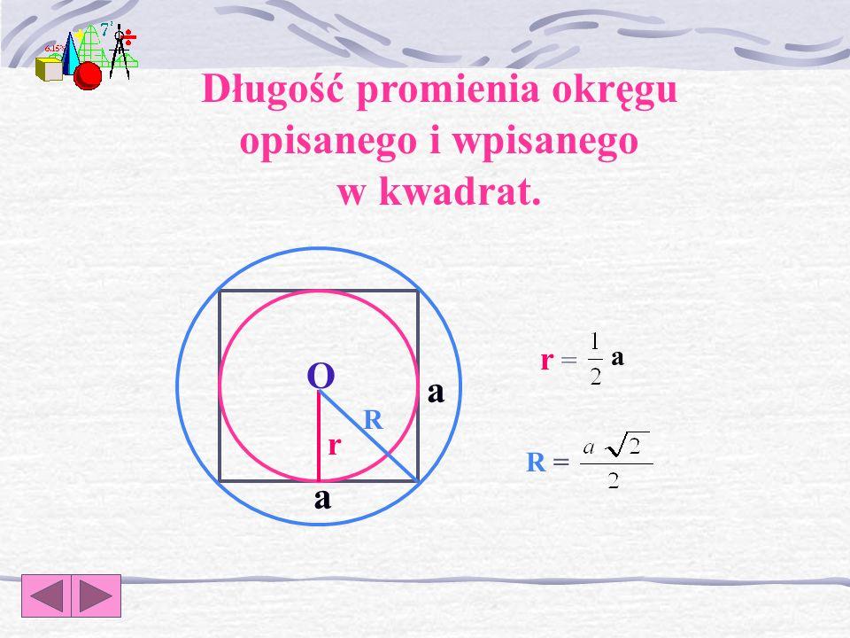 Długość promienia okręgu opisanego i wpisanego w kwadrat.