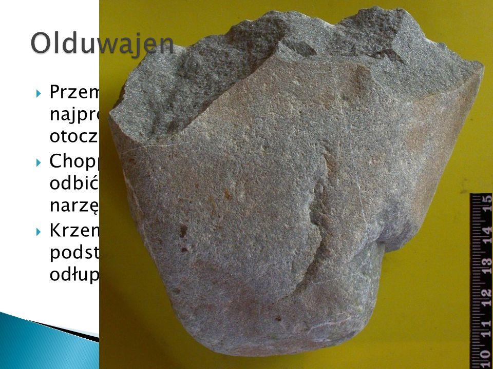Olduwajen Przemysły olduwajskie – najstarsze i najprostsze narzędzia wykonywane na otoczakach.
