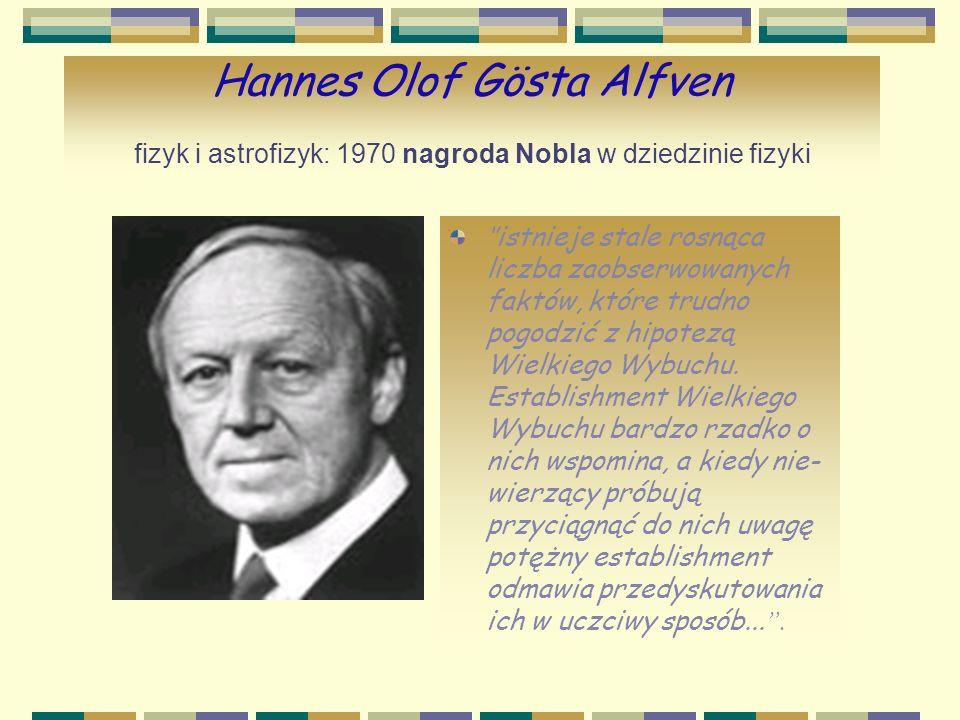Hannes Olof Gösta Alfven fizyk i astrofizyk: 1970 nagroda Nobla w dziedzinie fizyki