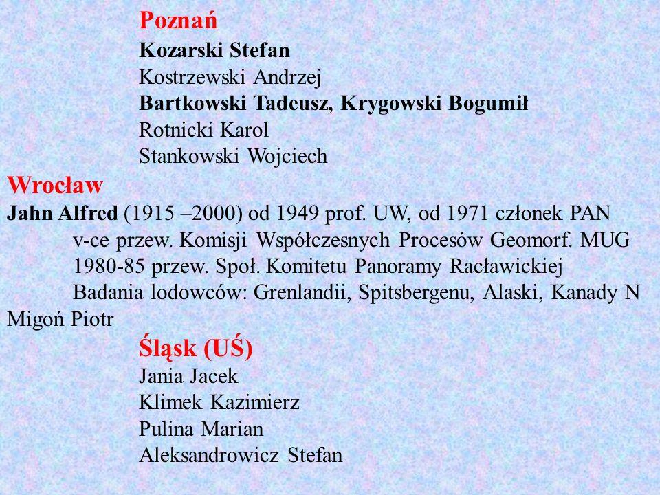 Poznań Wrocław Śląsk (UŚ) Kozarski Stefan Kostrzewski Andrzej