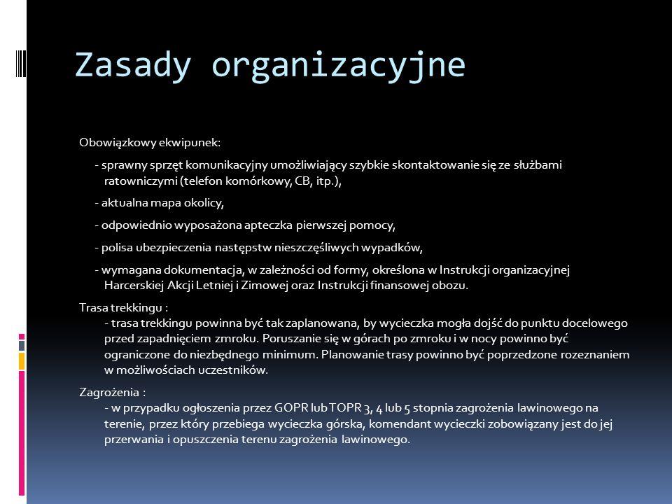 Zasady organizacyjne
