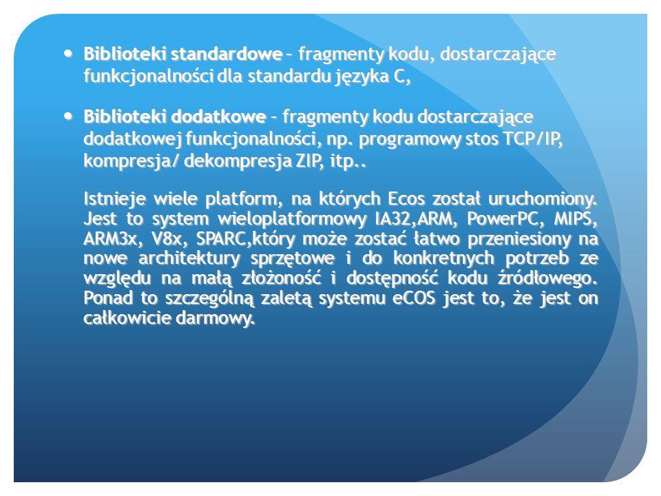 Biblioteki standardowe – fragmenty kodu, dostarczające funkcjonalności dla standardu języka C,