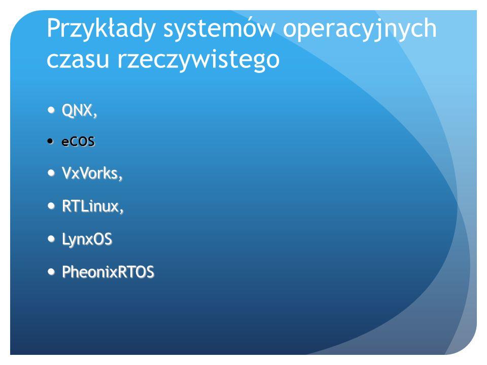 Przykłady systemów operacyjnych czasu rzeczywistego