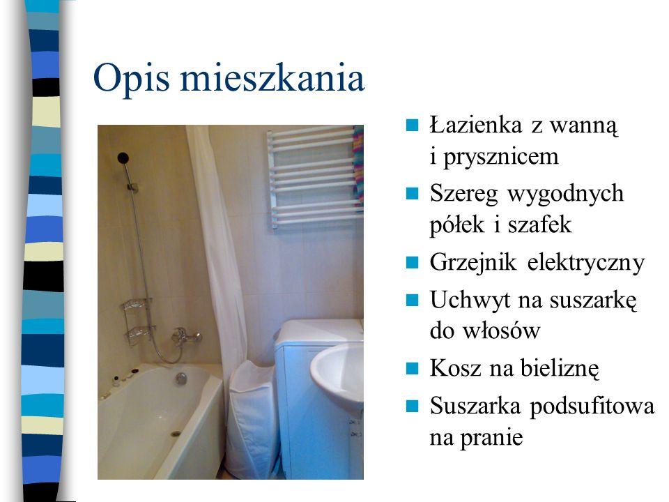 Opis mieszkania Łazienka z wanną i prysznicem