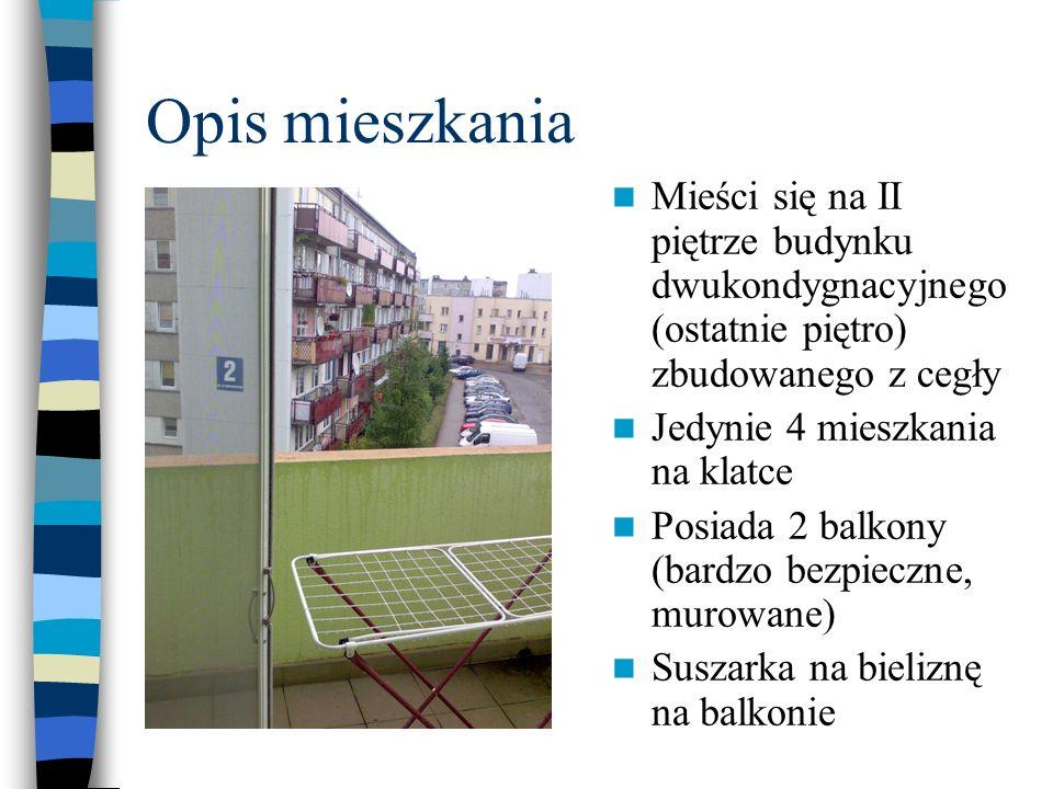 Opis mieszkania Mieści się na II piętrze budynku dwukondygnacyjnego (ostatnie piętro) zbudowanego z cegły.