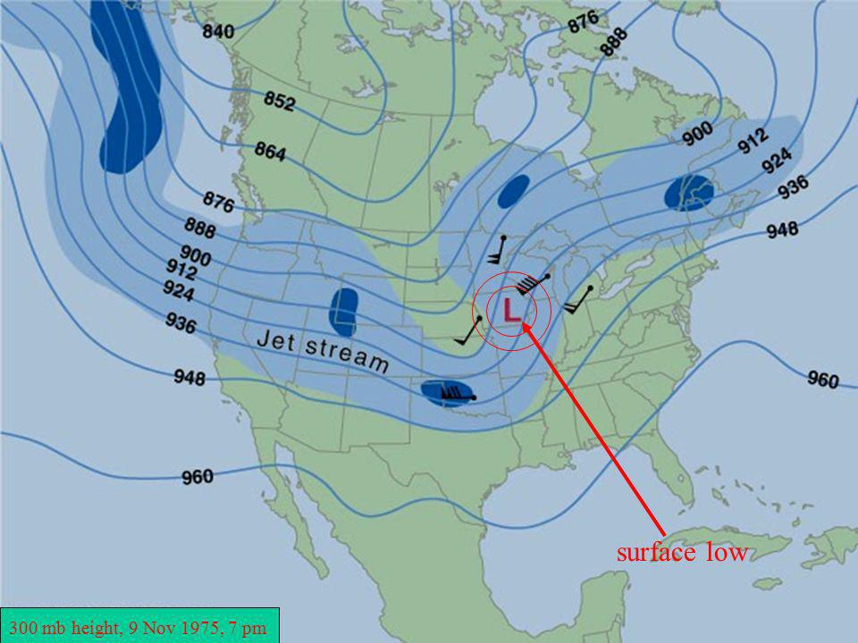 surface low 300 mb height, 9 Nov 1975, 7 pm