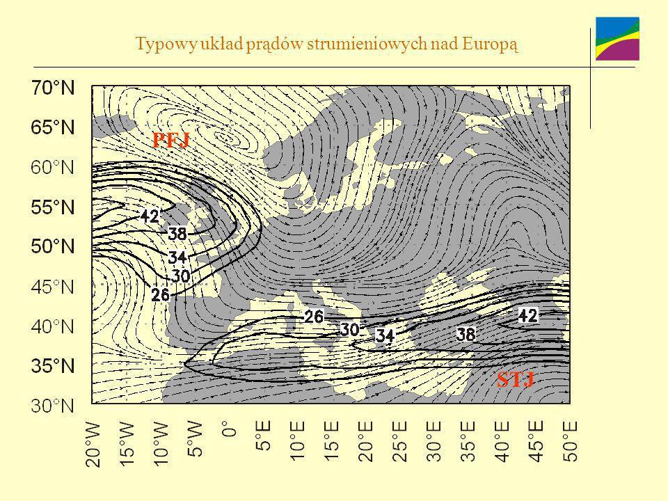 Typowy układ prądów strumieniowych nad Europą