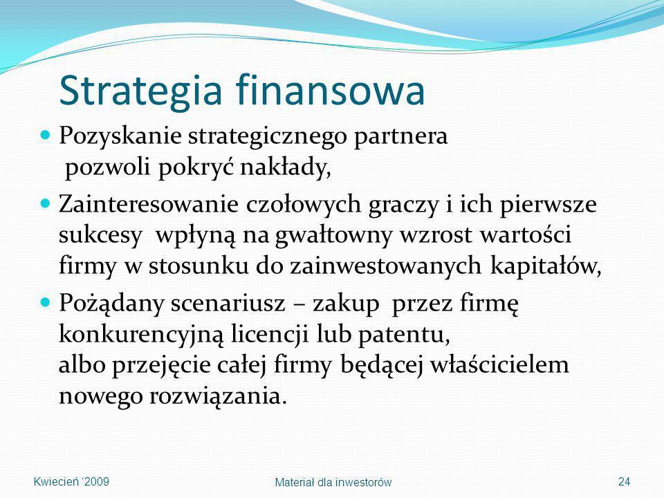 Strategia finansowa Pozyskanie strategicznego partnera pozwoli pokryć nakłady,