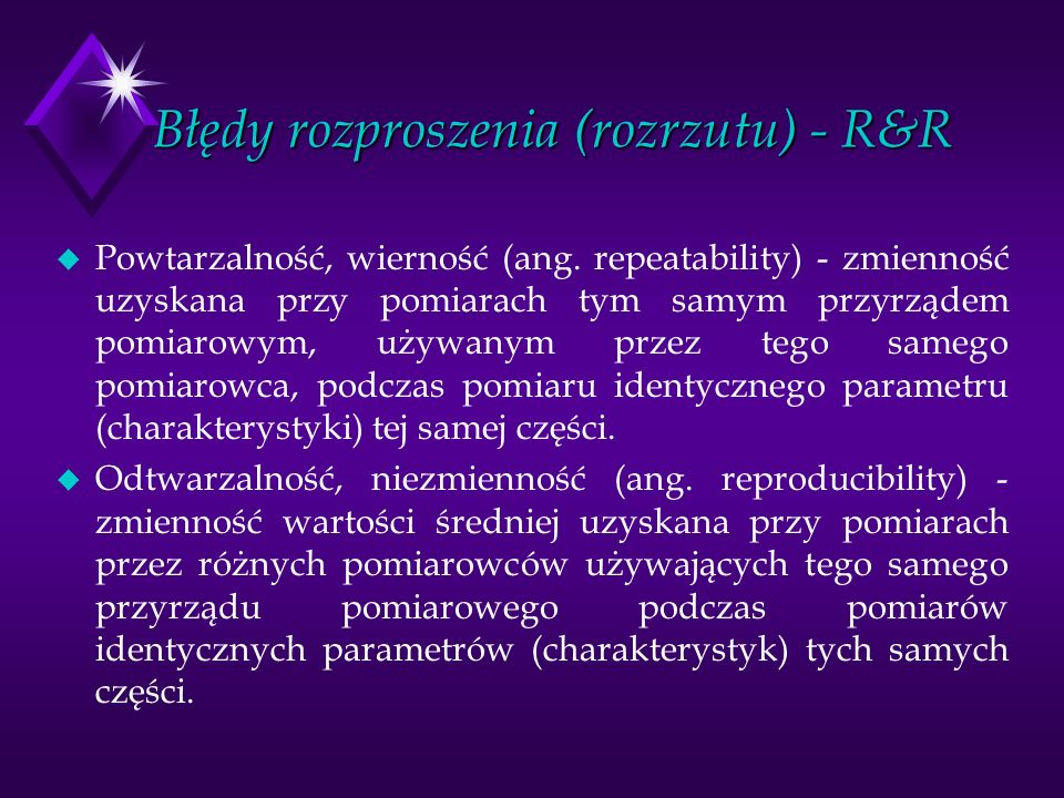 Błędy rozproszenia (rozrzutu) - R&R