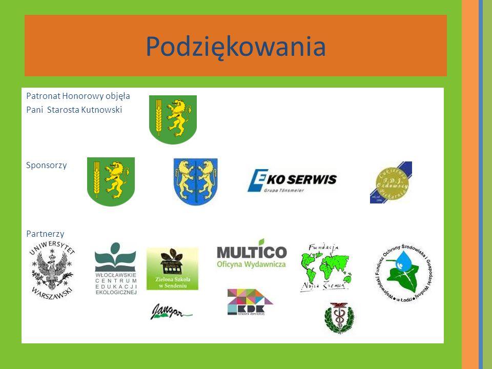 Podziękowania Patronat Honorowy objęła Pani Starosta Kutnowski Sponsorzy Partnerzy