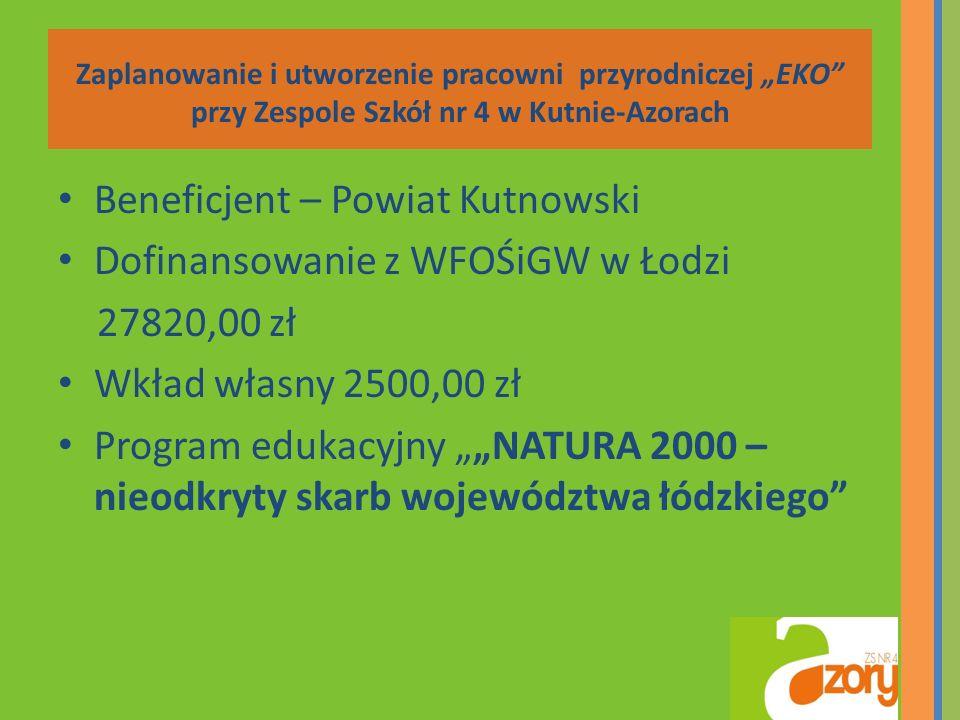 Beneficjent – Powiat Kutnowski Dofinansowanie z WFOŚiGW w Łodzi