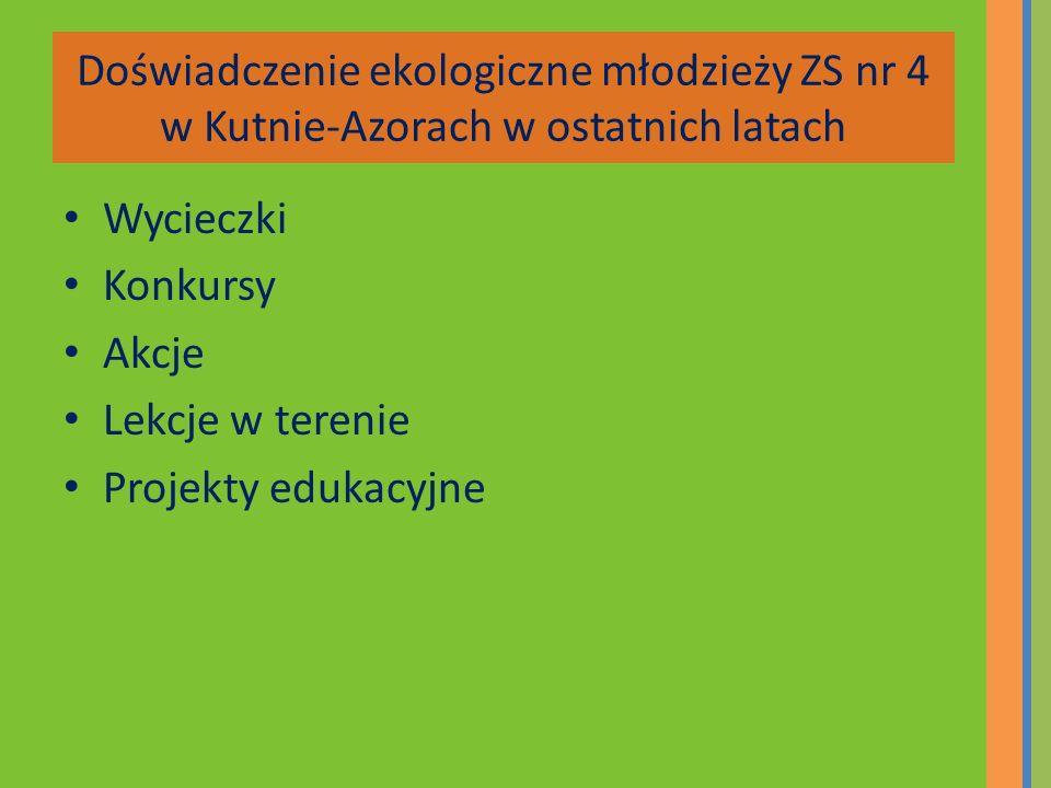 Doświadczenie ekologiczne młodzieży ZS nr 4 w Kutnie-Azorach w ostatnich latach