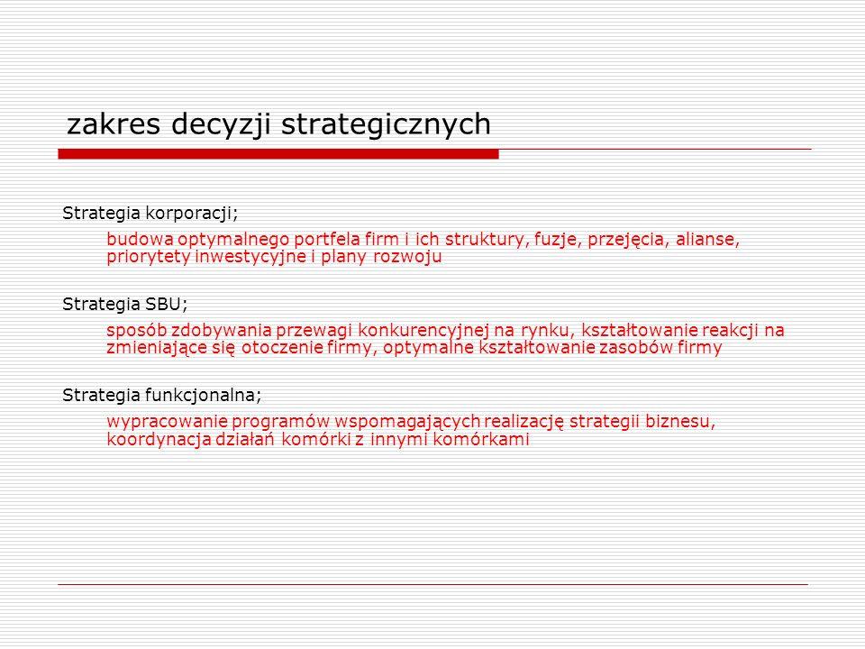 zakres decyzji strategicznych