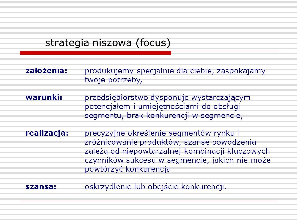 strategia niszowa (focus)