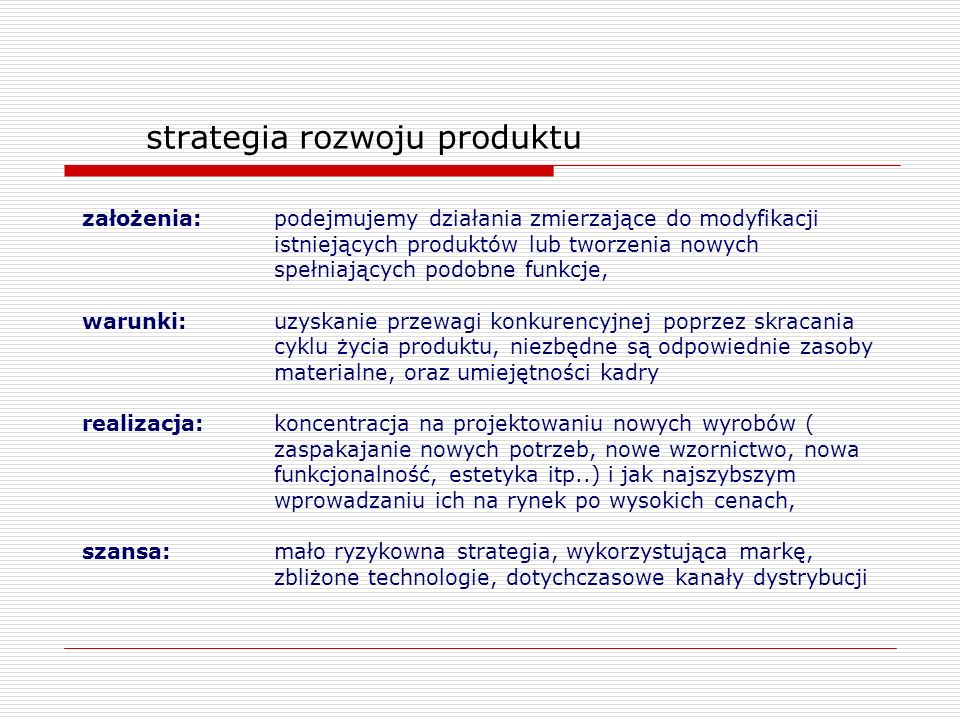 strategia rozwoju produktu