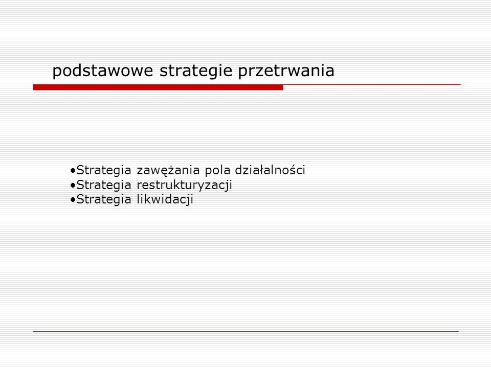 podstawowe strategie przetrwania