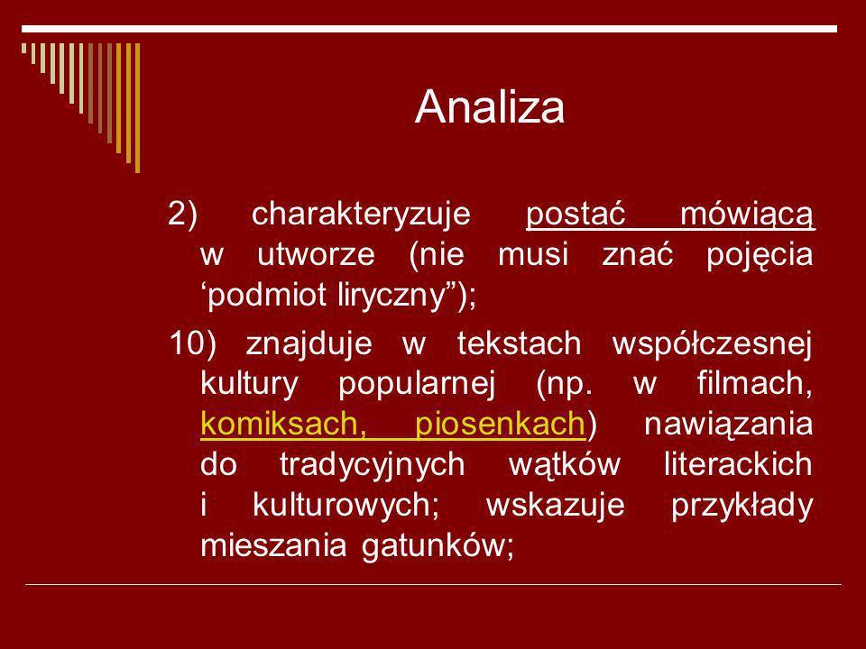 Analiza 2) charakteryzuje postać mówiącą w utworze (nie musi znać pojęcia 'podmiot liryczny );