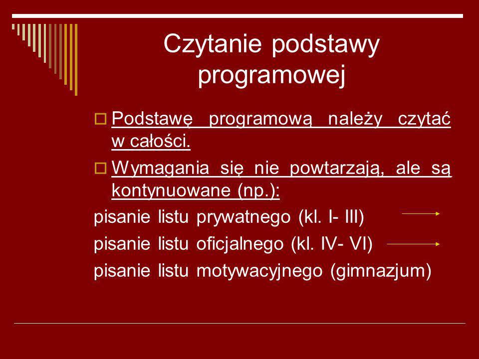 Czytanie podstawy programowej