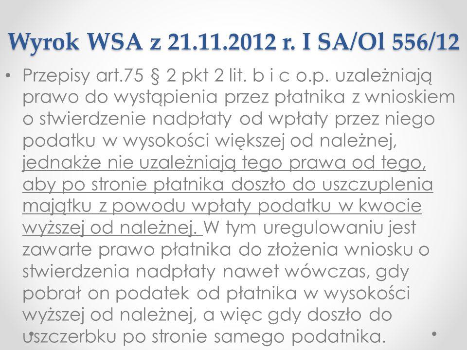 Wyrok WSA z 21.11.2012 r. I SA/Ol 556/12