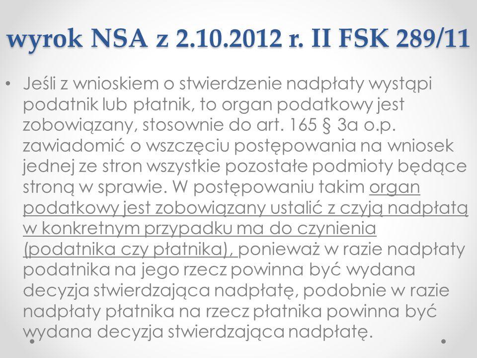 wyrok NSA z 2.10.2012 r. II FSK 289/11