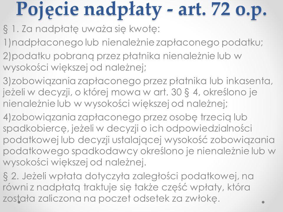 Pojęcie nadpłaty - art. 72 o.p.