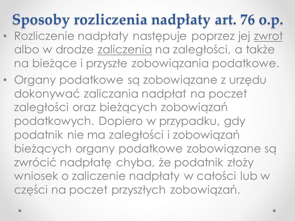 Sposoby rozliczenia nadpłaty art. 76 o.p.