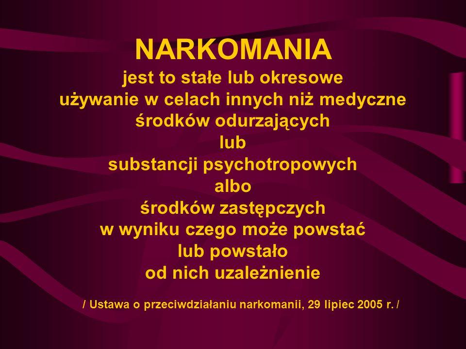NARKOMANIA jest to stałe lub okresowe używanie w celach innych niż medyczne środków odurzających lub substancji psychotropowych albo środków zastępczych w wyniku czego może powstać lub powstało od nich uzależnienie / Ustawa o przeciwdziałaniu narkomanii, 29 lipiec 2005 r.
