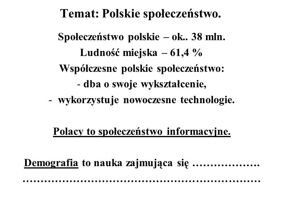 Temat: Polskie społeczeństwo.