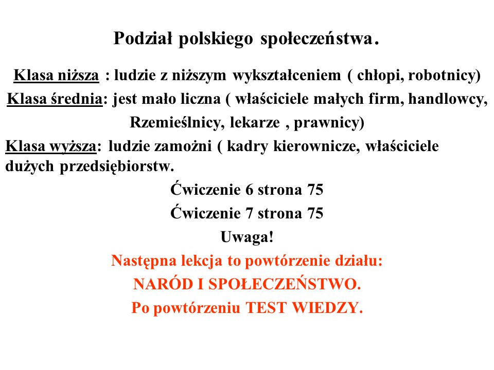 Podział polskiego społeczeństwa.