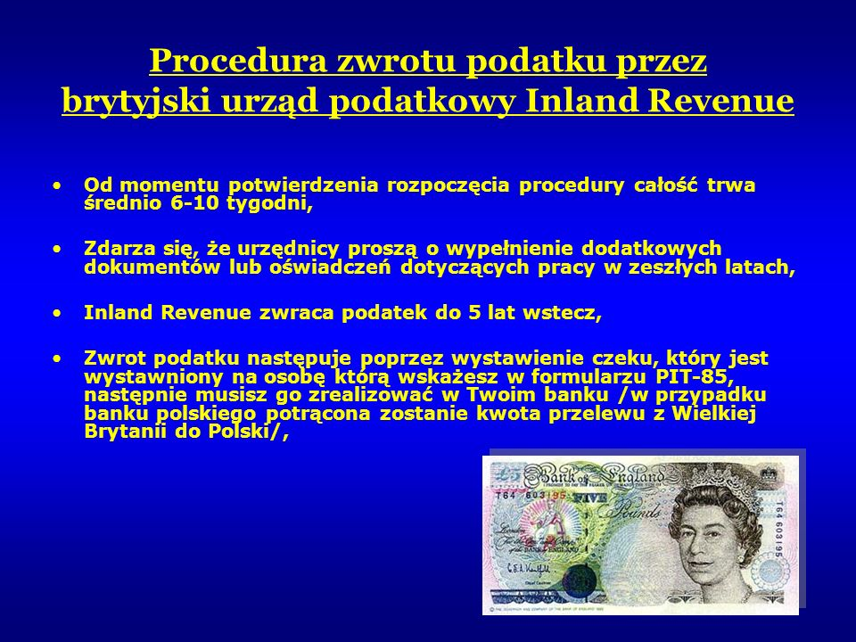 Procedura zwrotu podatku przez brytyjski urząd podatkowy Inland Revenue