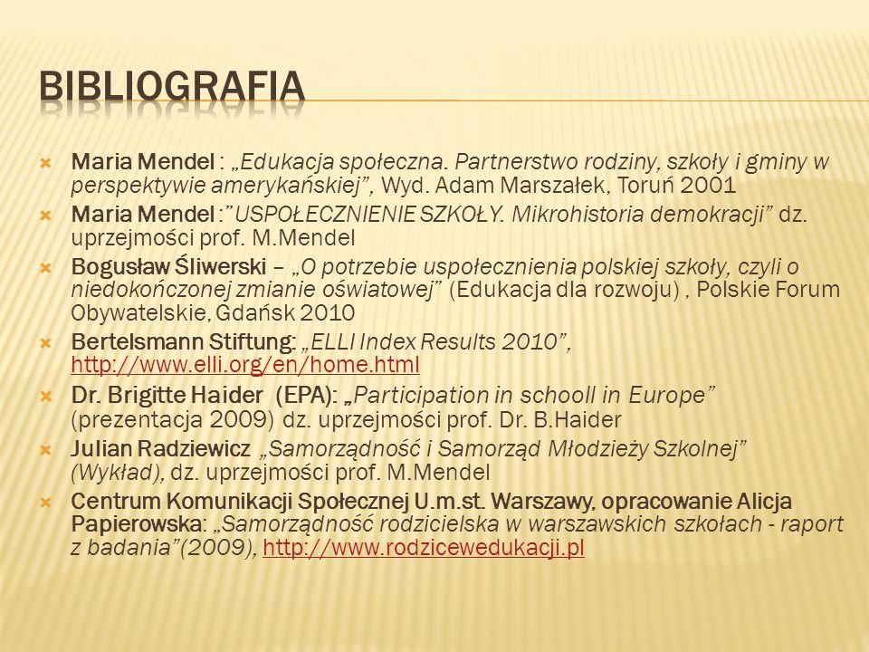 """Bibliografia Maria Mendel : """"Edukacja społeczna. Partnerstwo rodziny, szkoły i gminy w perspektywie amerykańskiej , Wyd. Adam Marszałek, Toruń 2001."""