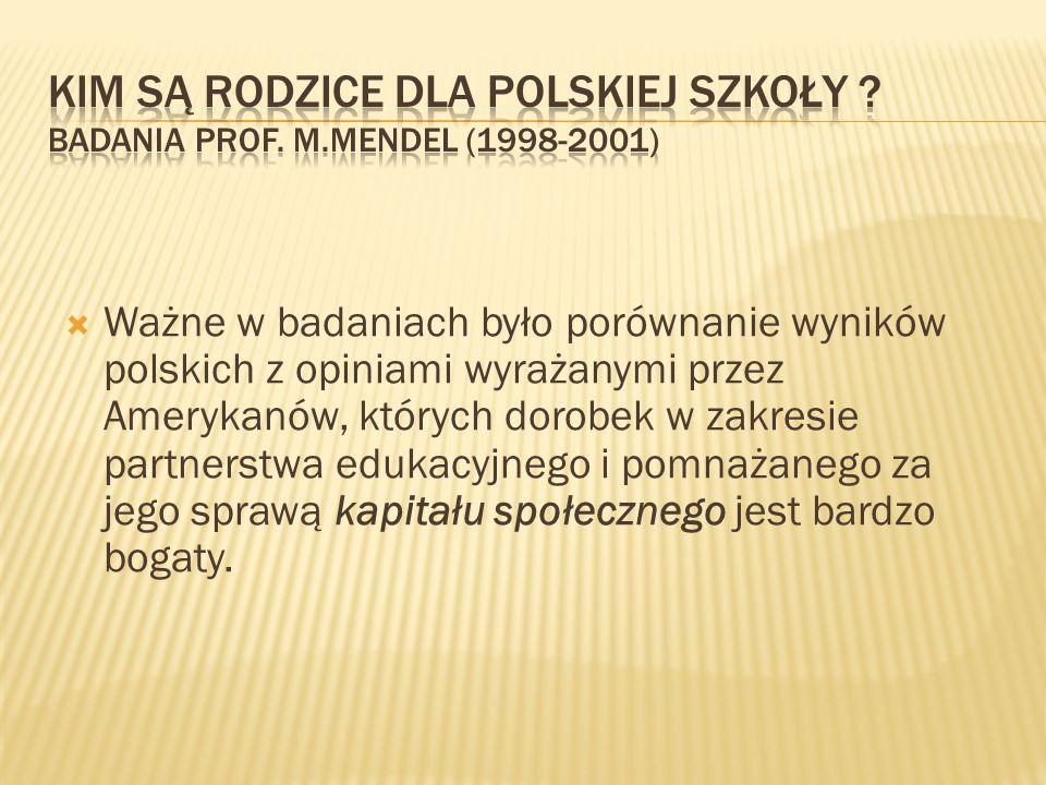 Kim są rodzice dla polskiej szkoły Badania prof. M.Mendel (1998-2001)
